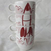 7 oz custom decal ceramic stackable coffee mug cup set