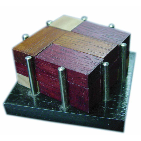 Diamond Cube in Metal Poles Brain Teaser Wooden Puzzle Game