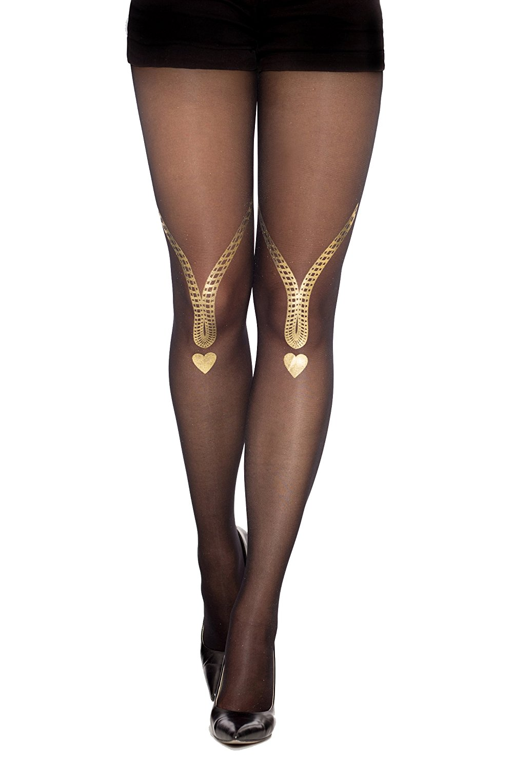 ee2a3905e9510 Get Quotations · Stern Tights Love Song Print Patterned Sheer Black Tights  Full Length Stockings