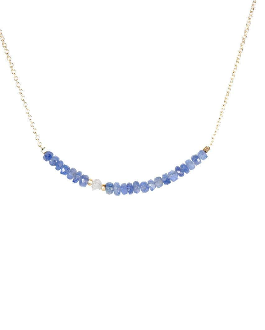 "Raw White Diamond and Blue Sapphire Stone Bar Necklace - 16"" Length"