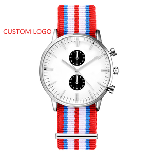 Logo Custom Unisex Watch Nylon Chronograph Watch Design Your Own OEM Watch Dial Personalized Leather Band Interchangeable