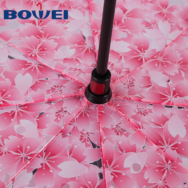 Wholesale 23 windproof C handle reverse umbrella with flower printing