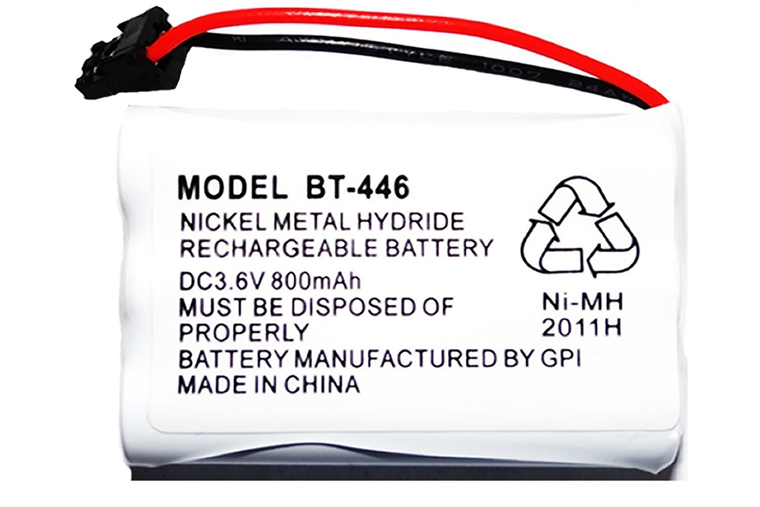 L.L. White BT-446 Nickel Metal Hydride Rechargeable Cordless Phone Battery, DC 3.6V 800mAh (3 pack)