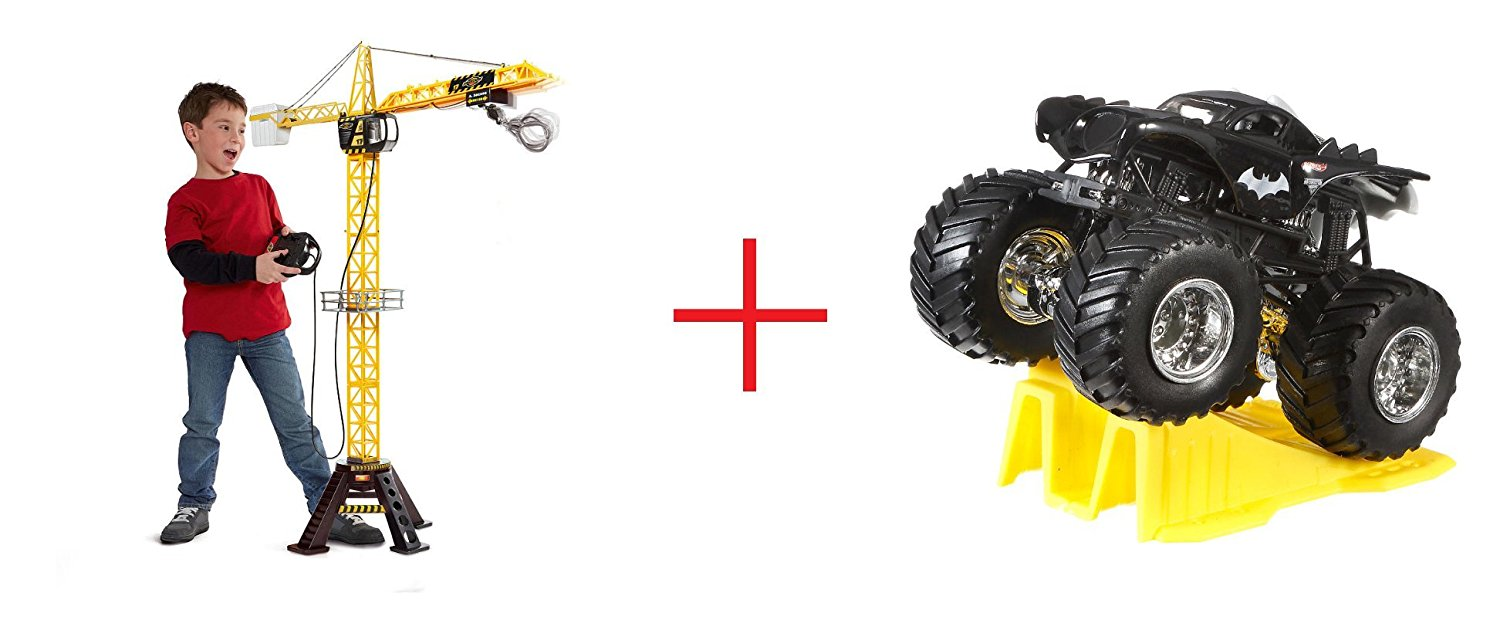 Fast Lane Mega Crane and Hot Wheels Monster Jam 1:64 Scale Diecast Truck (Colors/Styles May Vary) - Bundle