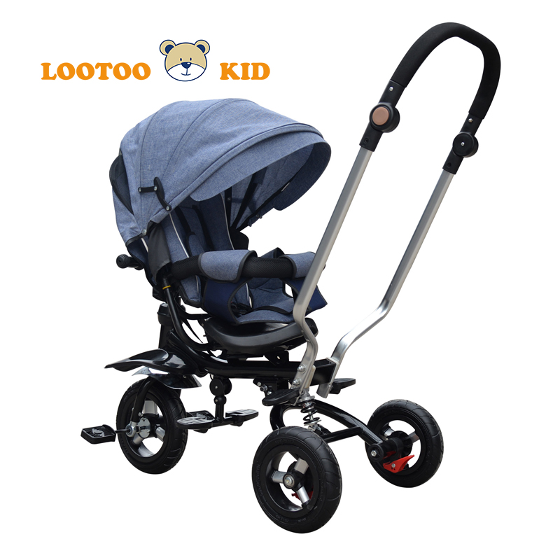 Hot sale steel frame en71 cheapest inflatable 3 wheel pushchair baby trike for 3 year old boy blue