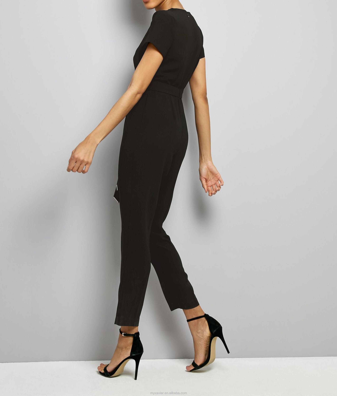 Fashionable women black cut out shoulder jumpsuit design with tie waist and  straight leg