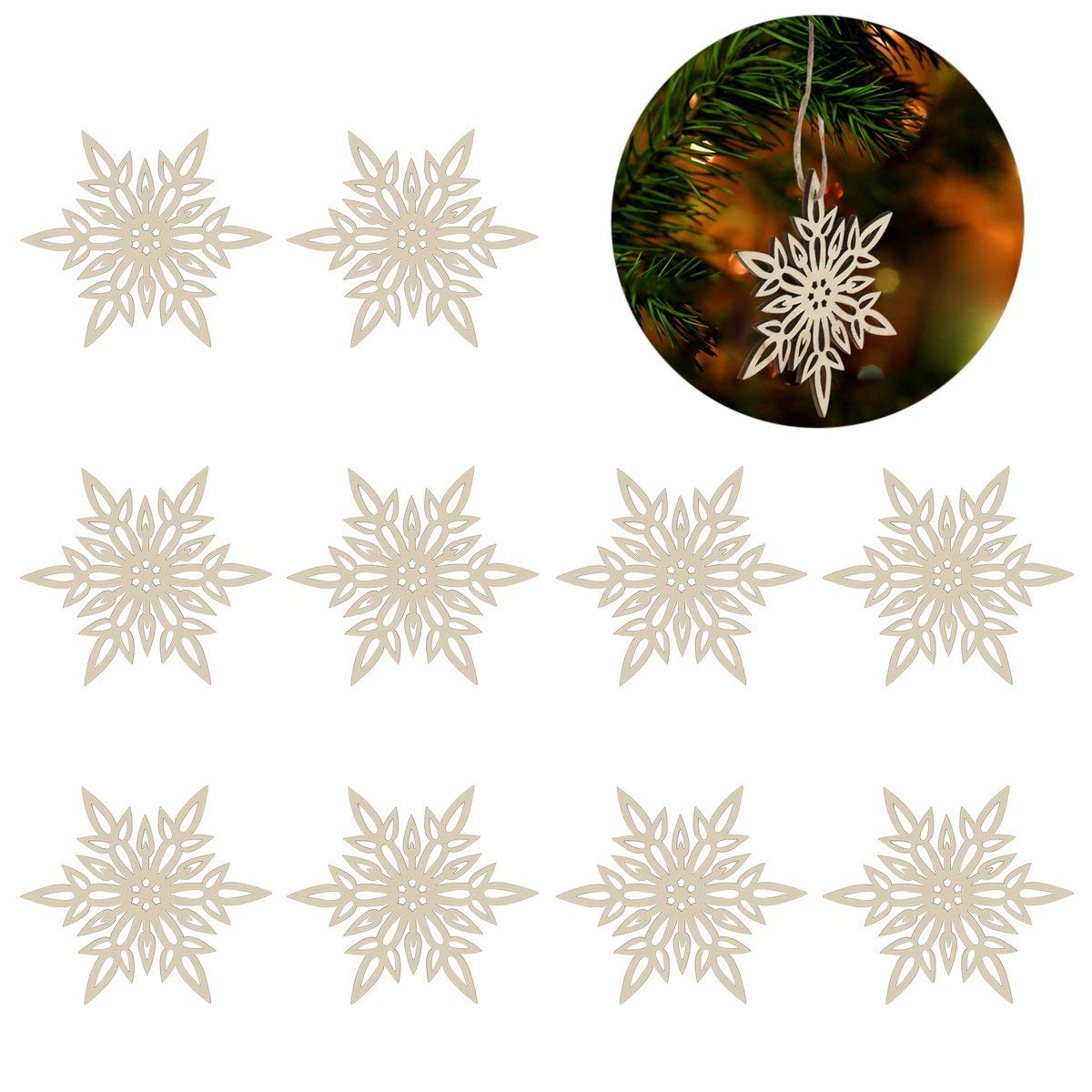 ROSENICE Wooden Christmas Embellishments with String Snowflake Pendant Decoration 10pcs