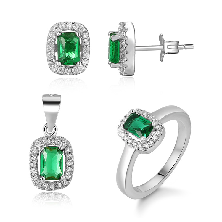 POLIVA Perfect Choice Sophisticated Gorgeous 925 Sterling Silver Clear Cubic Zirconia Green Crystal Jewelry Set for Mother