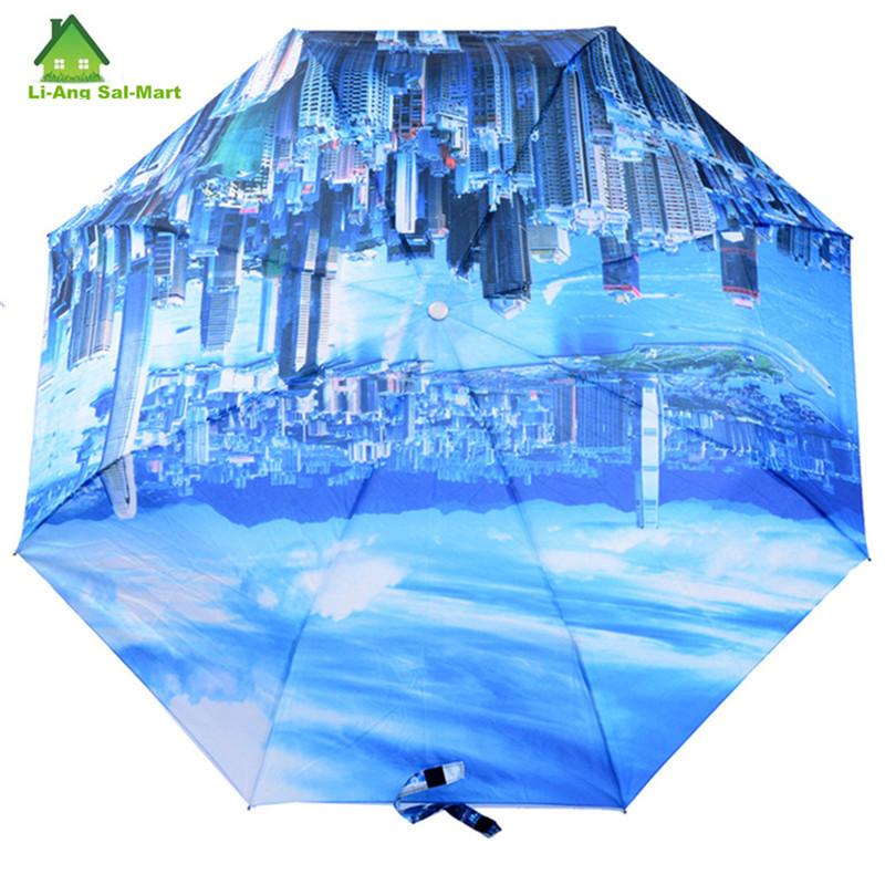 Высокое качество городах стиль зонтичный бренд не ветрозащитный 3 складной полностью автоматический дождь на дамы и человек прозрачный амбрелла