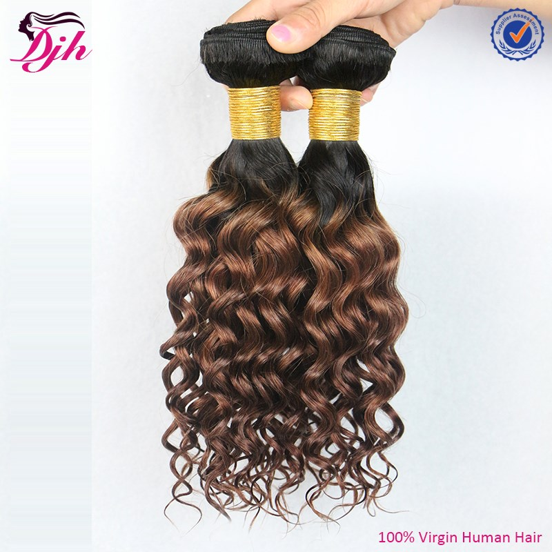 Aliexpress 6a top quality hair two tone ombre brazilian deep curl human hair extensions