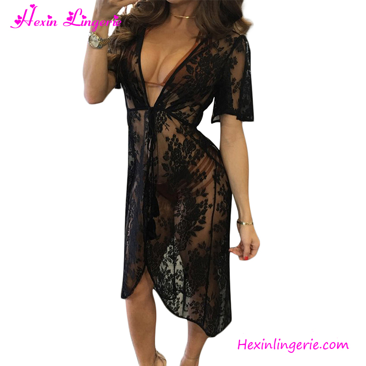 2220457ef0d 2017 Sexy Black Lace Tied Crochet Beach Dress Swimwear Cover Up ...