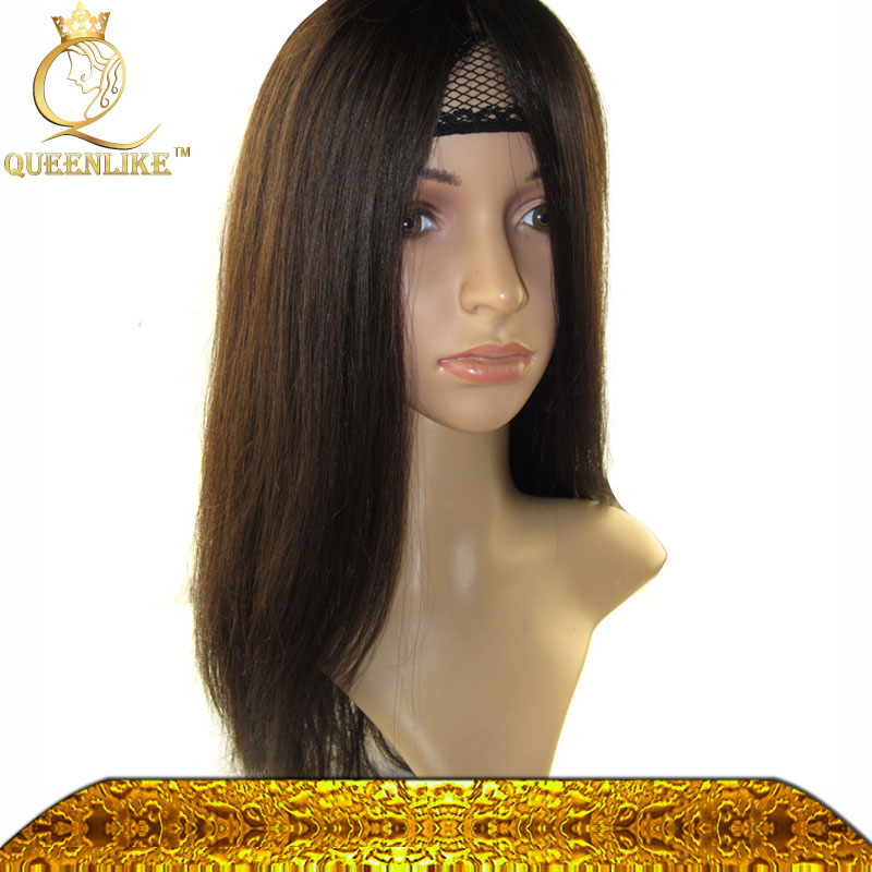Mongolian Natural straight virgin human hair jewish wig 130% density middle cape