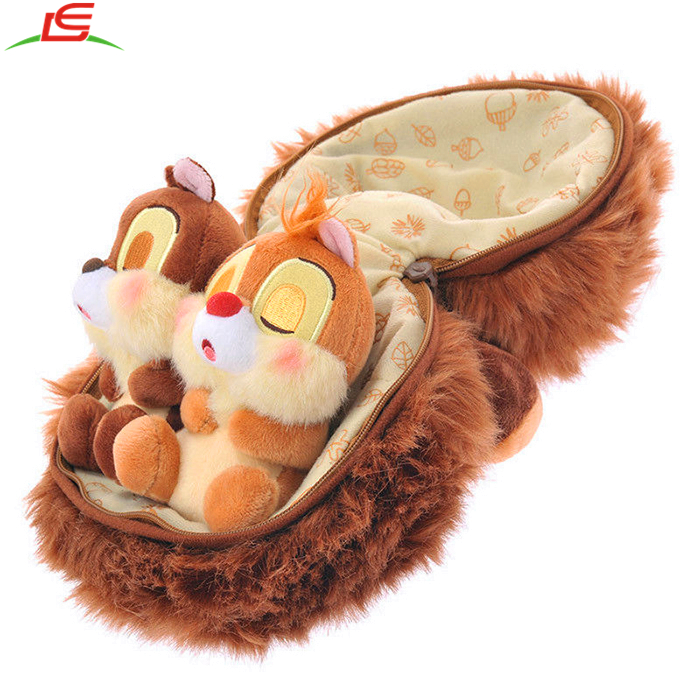 Classical Stuffed Animals Chip Dale In Plush Chestnut With Zipper