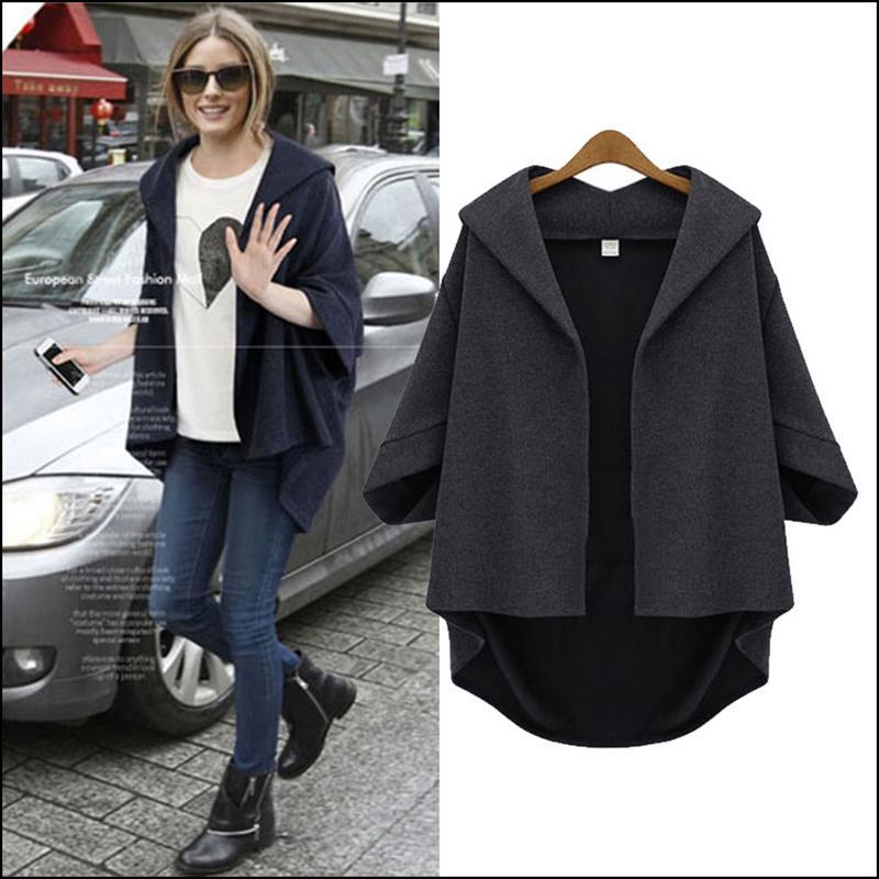 8444d41b91c Wholesale- 2017 Women Bat Sleeve Loose Casual Vintage Half Sleeve Jacket  Plus Size Hoodie Manteau Femme Irregular Coats