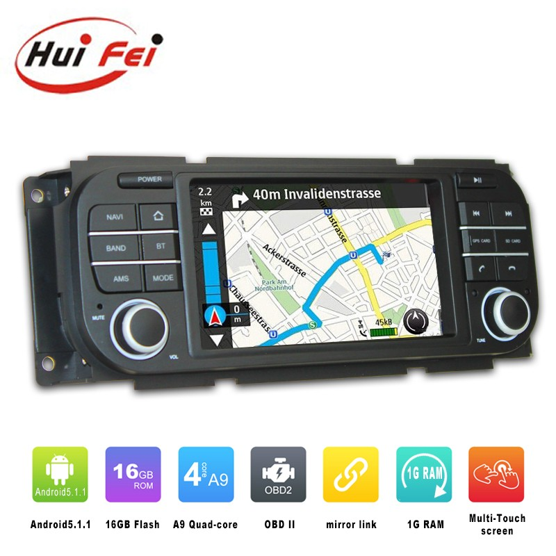 Huifei factory Pure Android5.1.1 Quad Core car radio gps for jeep wrangler