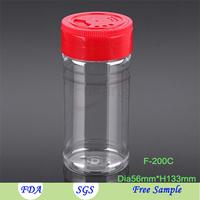 200ml Empty PET Plastic Spice Container Salt Pepper Shacker Plastic Bottle with Toothpick Cap