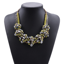 new products fashion brand jewelry neon yellow beads mixed rhineston balls chunky statement necklace 2017