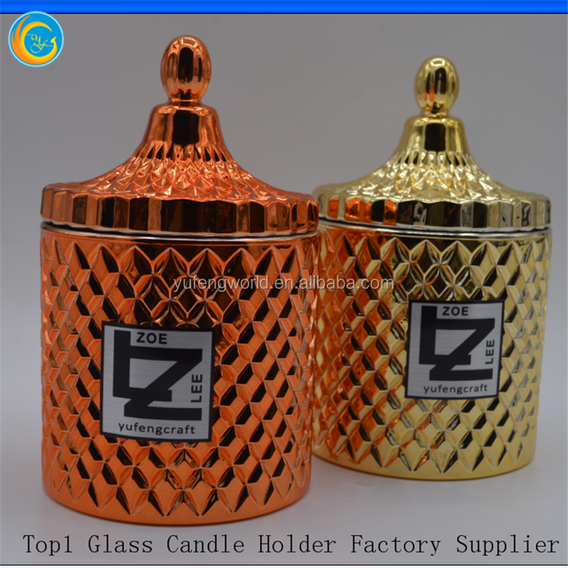 Promotional fancy rose gold candle holders with lid,luxury glass candle jar