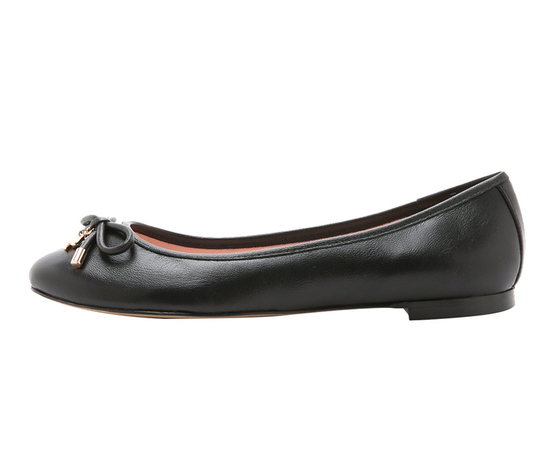 China Manufacturer Women Casual shoes round toe faux leather black Ladies Ballet Flat With Bow