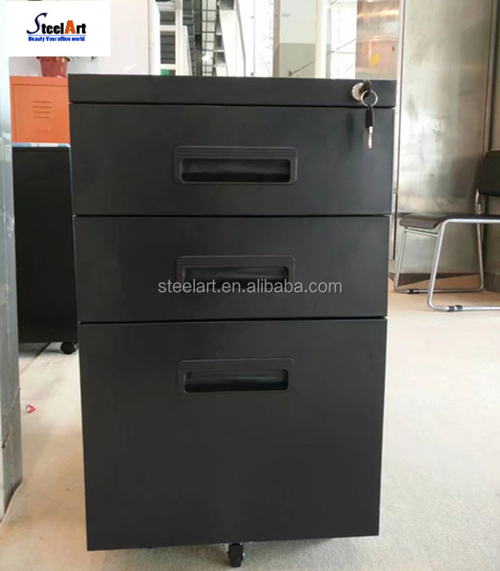 Black color metal with plastic handle mobile file cabinet