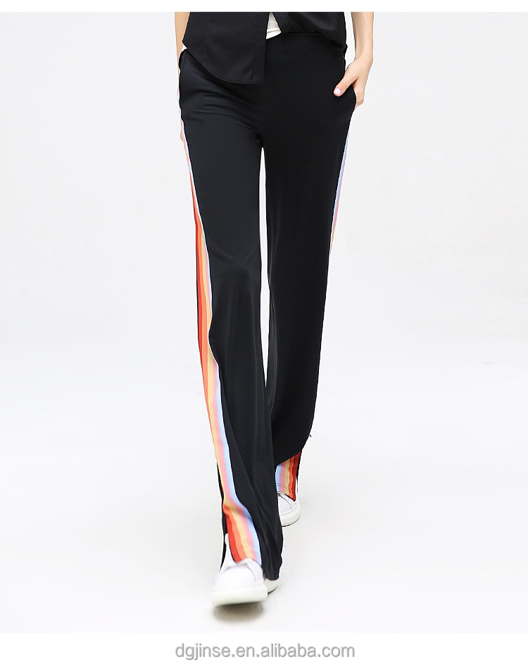 The new spring autumn ladies fashion design pants rainbow stripe splicing side zippers sports leisure women trousers