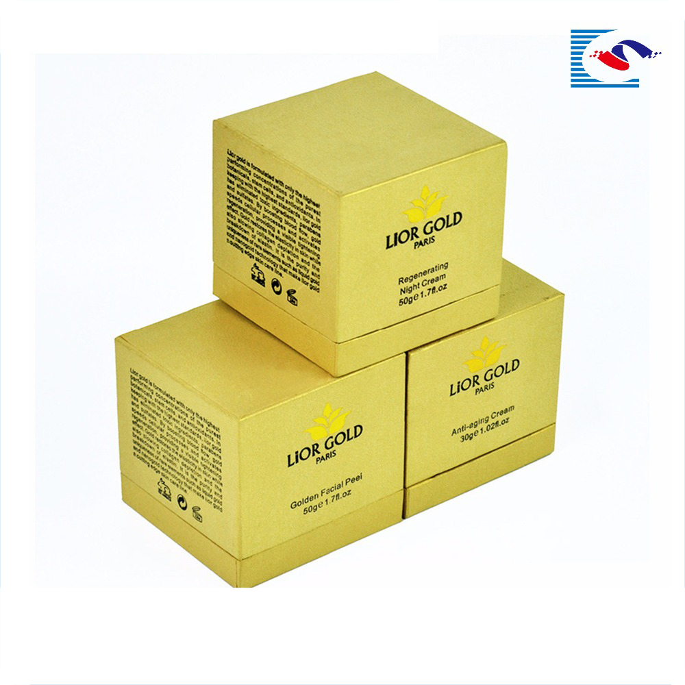 Golden facial peel night cream cardboard top and base packaging box