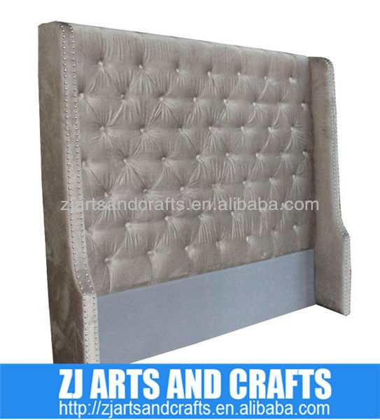 8016 button head board ( Champagne faux velvet covered wing back headboard with same fabric covered buttons/silver studs)
