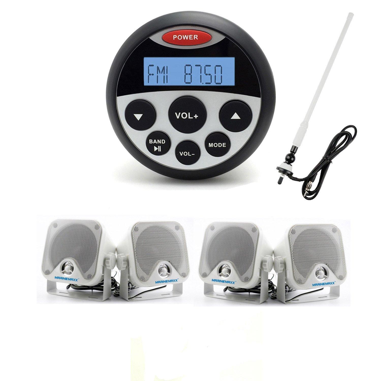 """MarineMaxx Marine Radio and Speakers 3.5"""" Marine Gauge Bluetooth Stereo MP3/USB Player FM AM AUX Input , 1 pair of 4"""" Marine Speaker Heavy Duty Speakers with Marine Waterproof Radio Antenna White"""