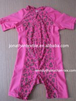 short sleeve pink leopard baby romper swimwear! zipper swimwear! pink lovely swimwear for toddle&baby! UPF50+