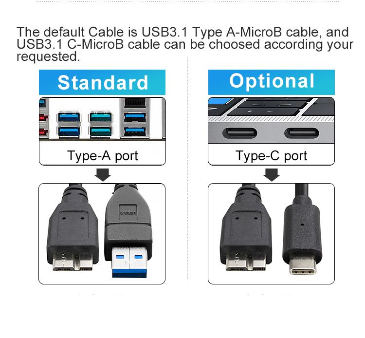 Datage 2019 Professionale Fornitore di Fabbricazione di 2.5 Da 1.8 Pollici HDD/SSD USB Tipo-C Recinzione