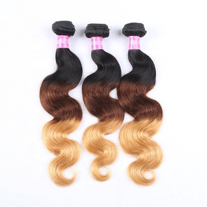 Wholesale Peruvian Virgin Hair Body Wave 3 Tone 1b 4 27 Color Ombre Hair Extensions Remy Hair Weave Bundles