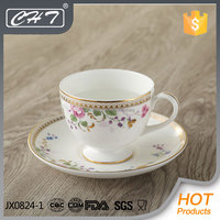A062 200ml bone china tea cup and saucer with flower decal