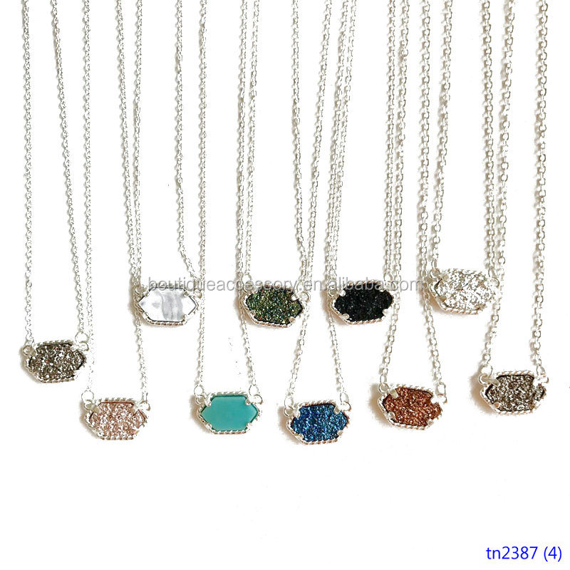 Women Oval Resin Faux Stone Pendant Necklace Multi Color Drusy Silver Jewelry