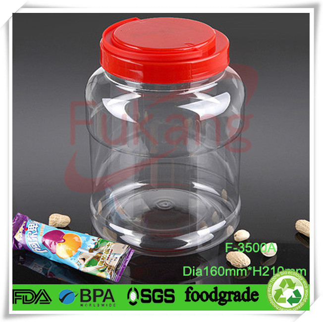 1 liter clear plastic bottle wide mouth cylinder container for Decor 900ml container