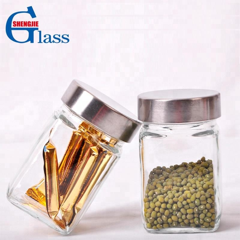 Square Airless Glass Canister Sets with Stainless Steel Lid