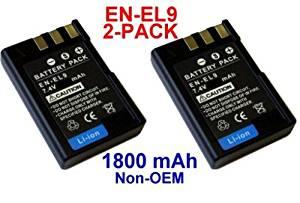 Nextop-2 Packs Nikon EN-EL9 Brand New 1800mAh COMPATIBLE Battery for Nikon D40, D40x, D60