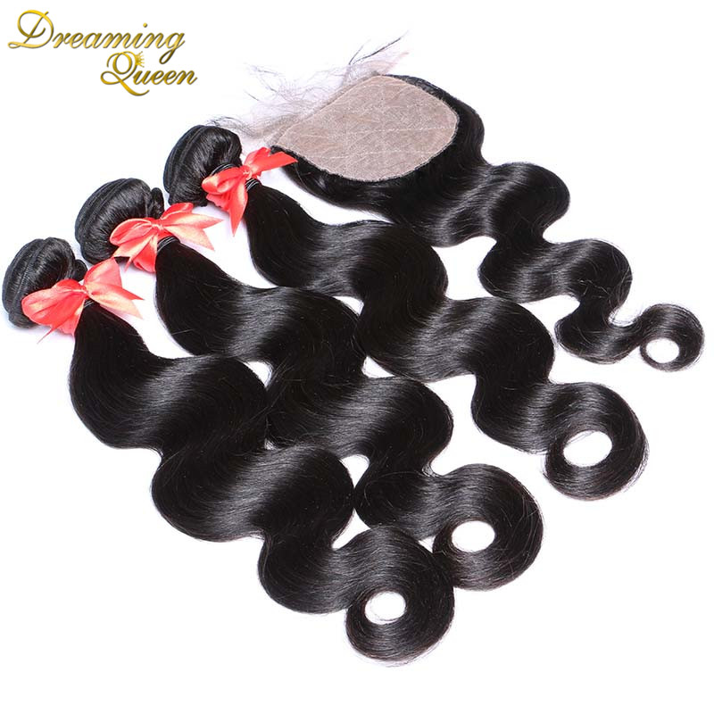 7A Peruvian Virgin Hair With Silk Closure Pervian Virgin Hair Body Wave Silk Base closure and