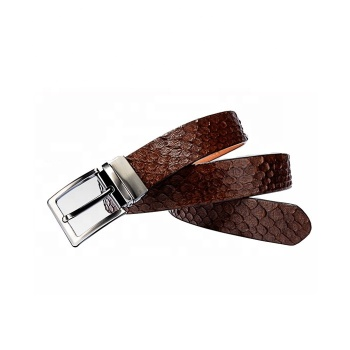 Python Skin And Cow Hide Double Sided Leather Men Belt With Reversible Buckle
