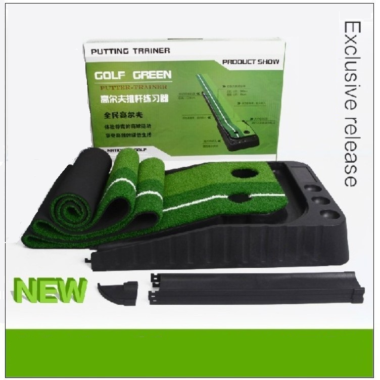 with ball return practice Putter indoor golf green Putting Mat with alignment guide lines