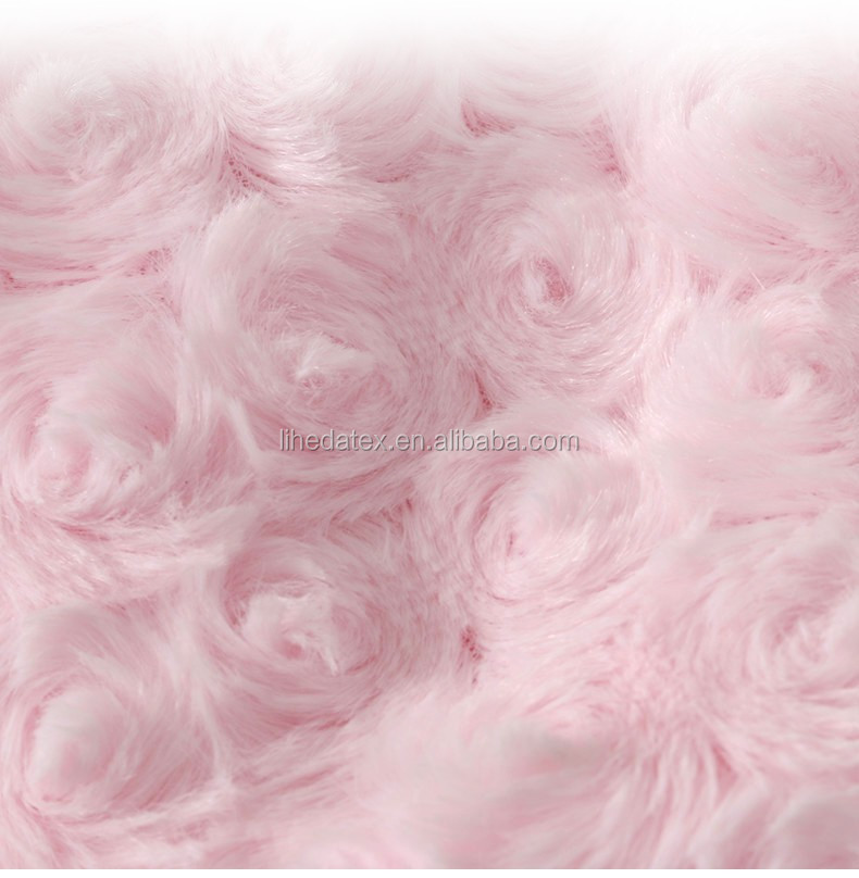 Minky Fabric manufacturers Minky Rose Cuddle Pink Wholesale PV Rose Fowers Pattern Embossed Fabric For baby blanket
