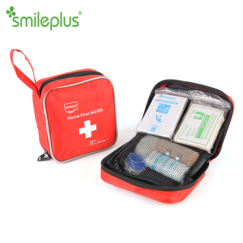 2018 Medical Square Shape Nylon Travel Red Top Class Quality First Aid Kit