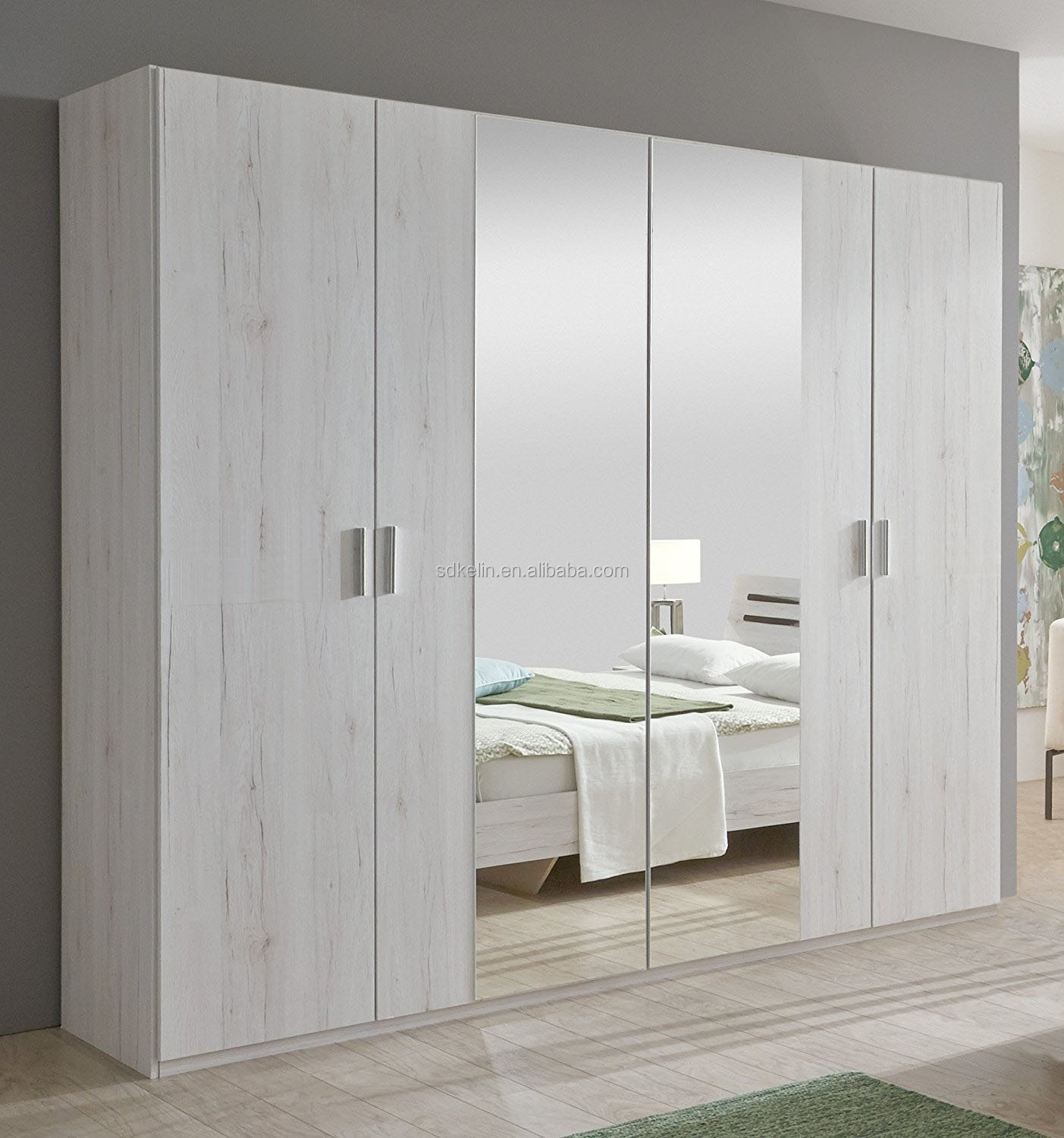 Euro styl white color melamine MDF wooden wardrobe with mirror