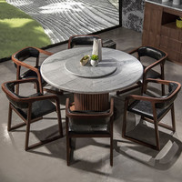 modern round granite marble dining table and chairs set with rotating center