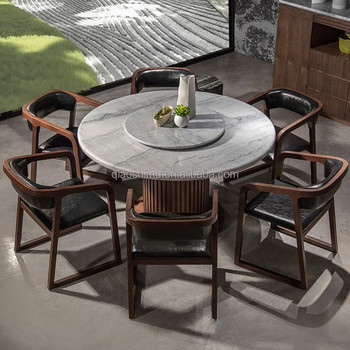 Awesome Modern Round Granite Marble Dining Table And Chairs Set With Rotating Center