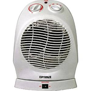 Optimus Electric Portable 2-Speed Oscillating Fan Heater with Thermostat, HEOP1382