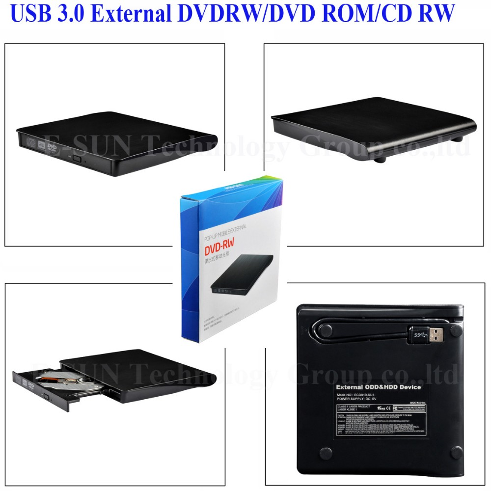 9.5mm SATA USB 3.0 Slim External CD DVD DVDRW Burner Writer Drive for Laptop PC ECD819-3DW LL3103
