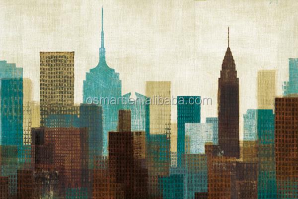 Pintado A Mano De Fotos En Lienzo Moderno Pinturas De Aceite A La Habitación De Color Brillante Modernos Edificios De La Ciudad De Pinturas De Aceite