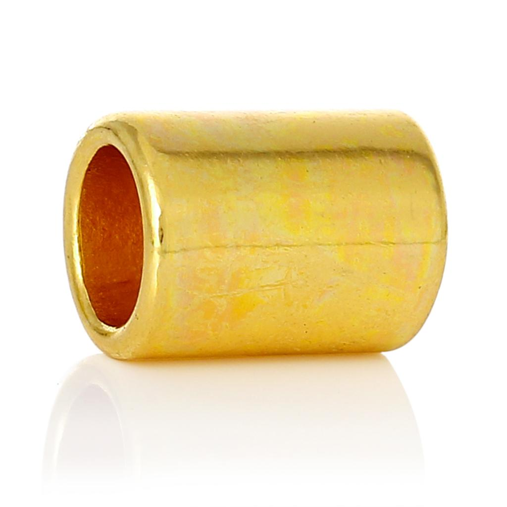 "Spacer Beads Cylinder Gold Plated About 14.0mm(4/8"")x 10.0mm(3/8""),Hole:Approx 7.5mm(2/8"")- 6.8mm(2/8""),20 PCs 2015 new"