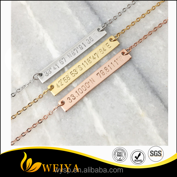 Fashion stainless steel custom engraved bar name friendship bracelets for girls gift