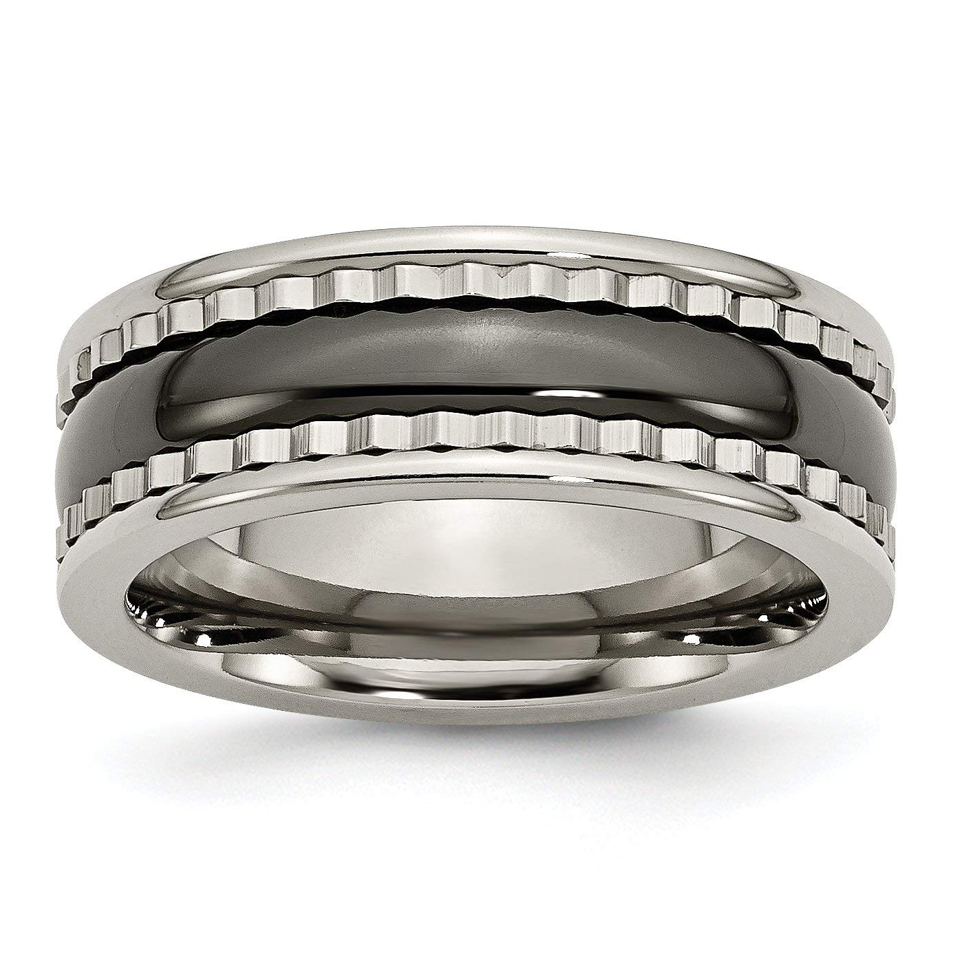 Titanium w/Sawtooth Accent/Polished Black Ceramic Center 8mm Band TB378-7<BR>Polished | Engravable | Titanium | Ceramic